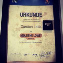 Carsten Lexa erhält Goldenen Thüringer Löwen der Wirtschaftsjunioren Thüringen